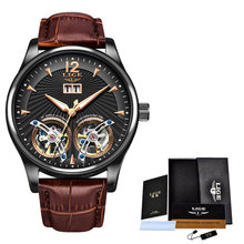 2020 новые LIGE мужские часы роскошные кожаные с двойным турбийоном механические часы мужские модные бизнес автоматические водонепроницаемые ...(Китай)