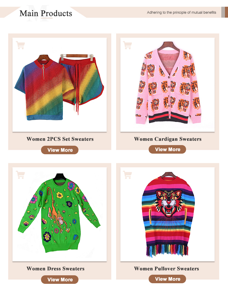 Hot Sale Rainbow Sweater Striped Knitting Women Sweater With Panther Appliques