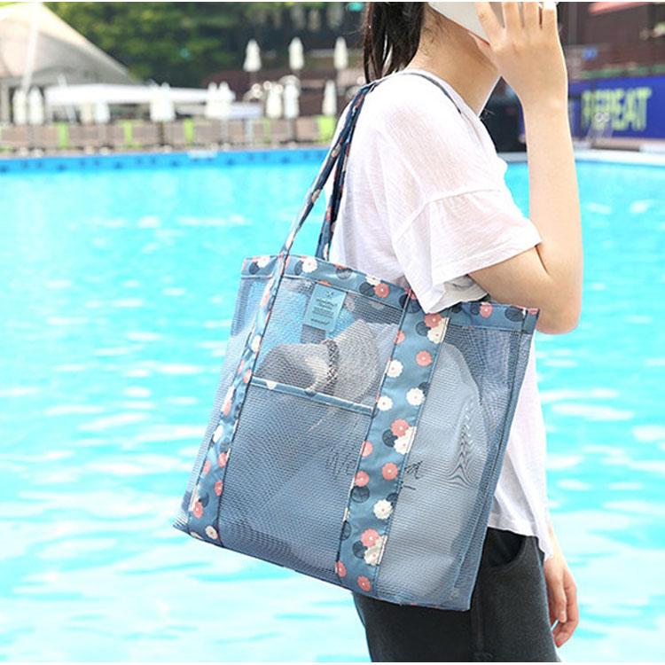 شعار مخصص ترويجي الترفيه كيس شبكي للشاطئ حمل حقائب حمل واضحة مع سحاب
