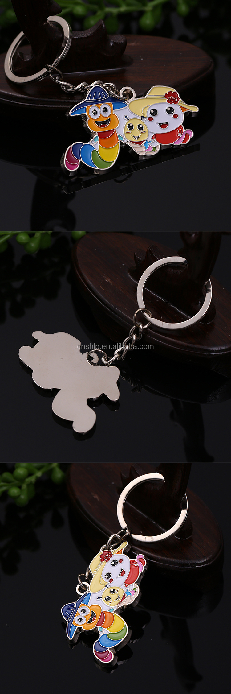 Cheap zinc alloy soft enamel lovely metal keychain for wholesale