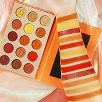 Red Orange Eyeshadow Palette Sunset 15 Color Highly Pigmented Glam Fall Eye Shadow Makeup Palette Matte Shimmer Eyeshadow Pallet