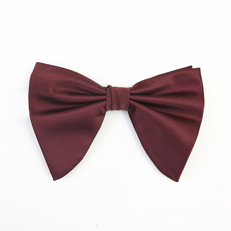 Plain Polyester Butterfly Bow Tie Adjusted Pre-tied Bowtie For Men