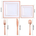 Rose Gold Square Plastic Dinner Salad Plate Rose Gold Cutlery PS Dinnerware Set With High Quality