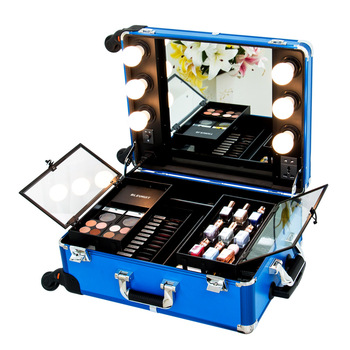 Professional hot sale Aluminum trolley train box beauty makeup cosmetic case