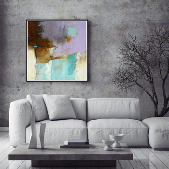 Cool abstract framed purple tableaux decoration wall art painting