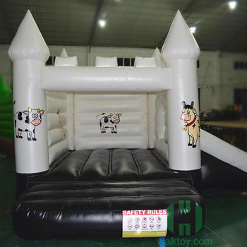 Black White Cow Bouncing Jumping Inflatable Castle Slide Inflatable Bouncer Castle with Sliding Inflatable Bouncy Castles