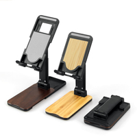 2020 adjustable flexible rotating desktop aluminum bamboo wood universal mobile cell phone holder stand