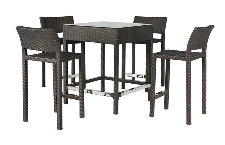 Cheap cost 4 seater rattan bar table and high chairs outdoor wicker bar set
