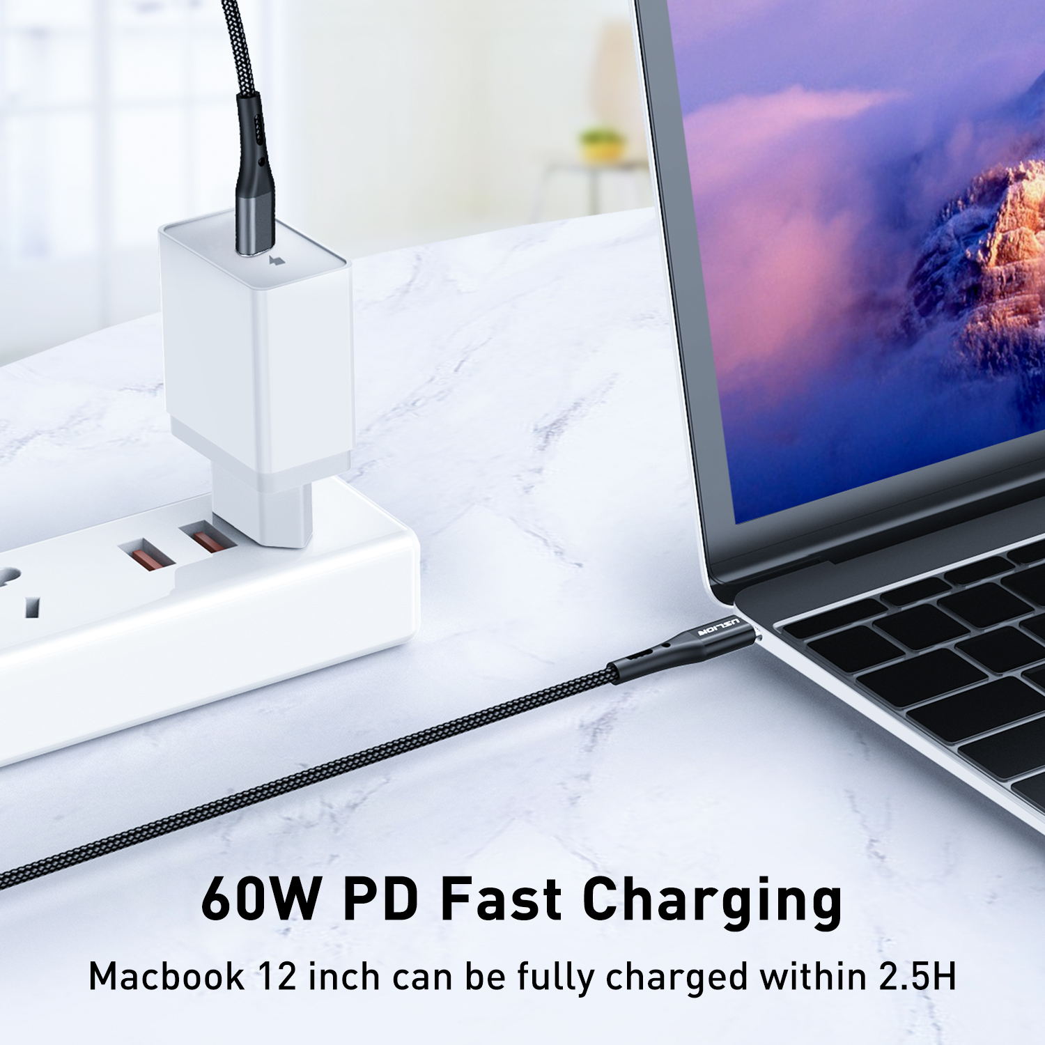 Free Shipping USLION PD Cable for Type C High Speed Quick Charging Cable for Samsung S10 Data Cable for Macbook
