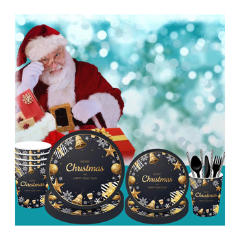 Black and Gold Disposable Tableware Sets Christmas Decoration Party Supplies
