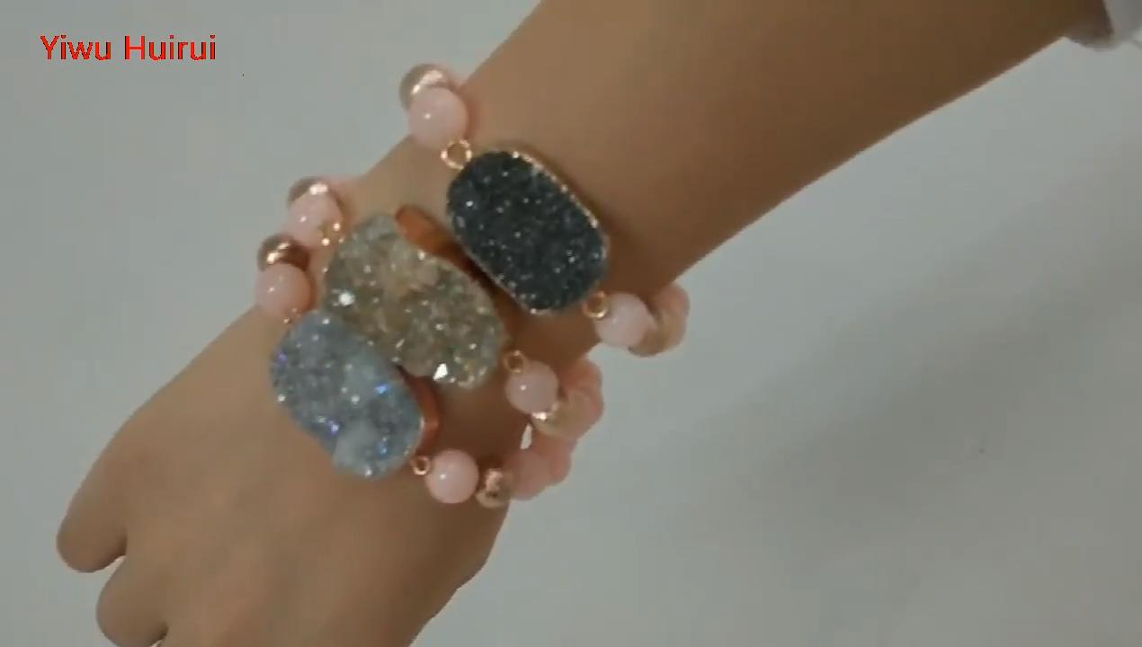 Haute Qualité Druzy Rose Rose Quartz Cristal Charme Bracelet Bracelet En Perles