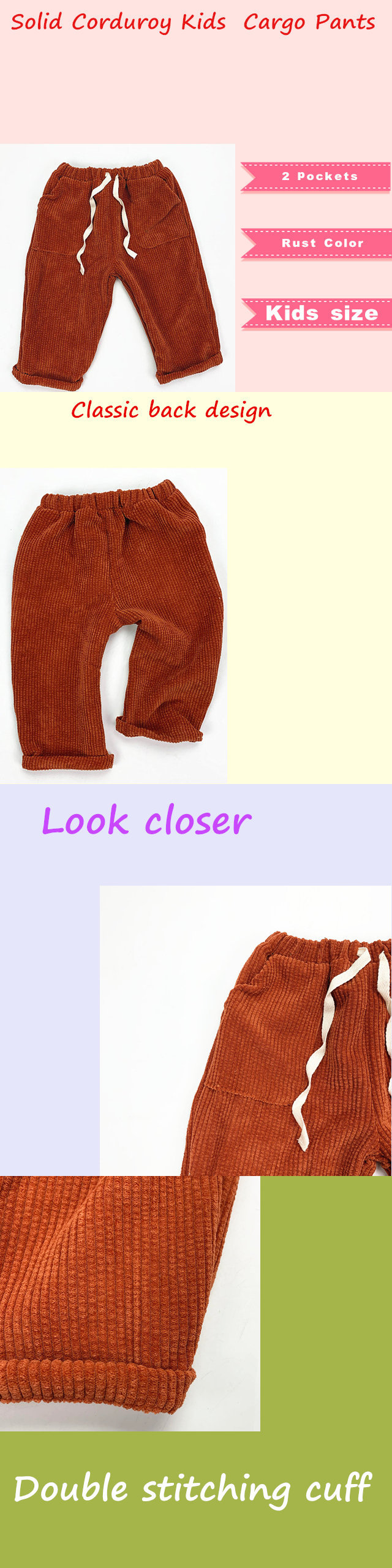 Vintage Rust Color Kids Clothes Customize Logo 1 year old Corduroy Cargo Pants Daily Fashion