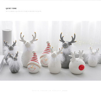 European Minimalist Nordic White Ceramic Deer Head And Ceramic Elk Christmas Crafts Home Decorations