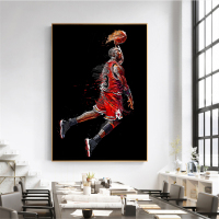 Abstract Art Painting Michael Jordan Poster Fly Dunk Basketball Wall Pictures for Living Room Decoration Bedroom Sport Canvas