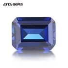 Wholesale Lab Created Corundum Octagon Emerald Cut Synthetic Stone Blue Sapphire
