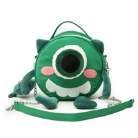 Hot sale cute cartoon round shape animal chain sling shoulder bag for kids girls