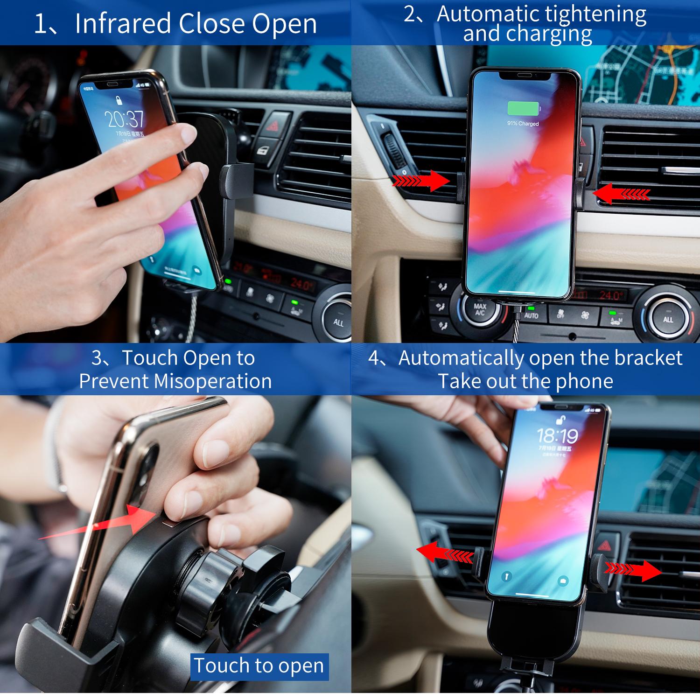 Produit en stock sans fil Support de téléphone portable 10w charge rapide sans fil chargeur de voiture