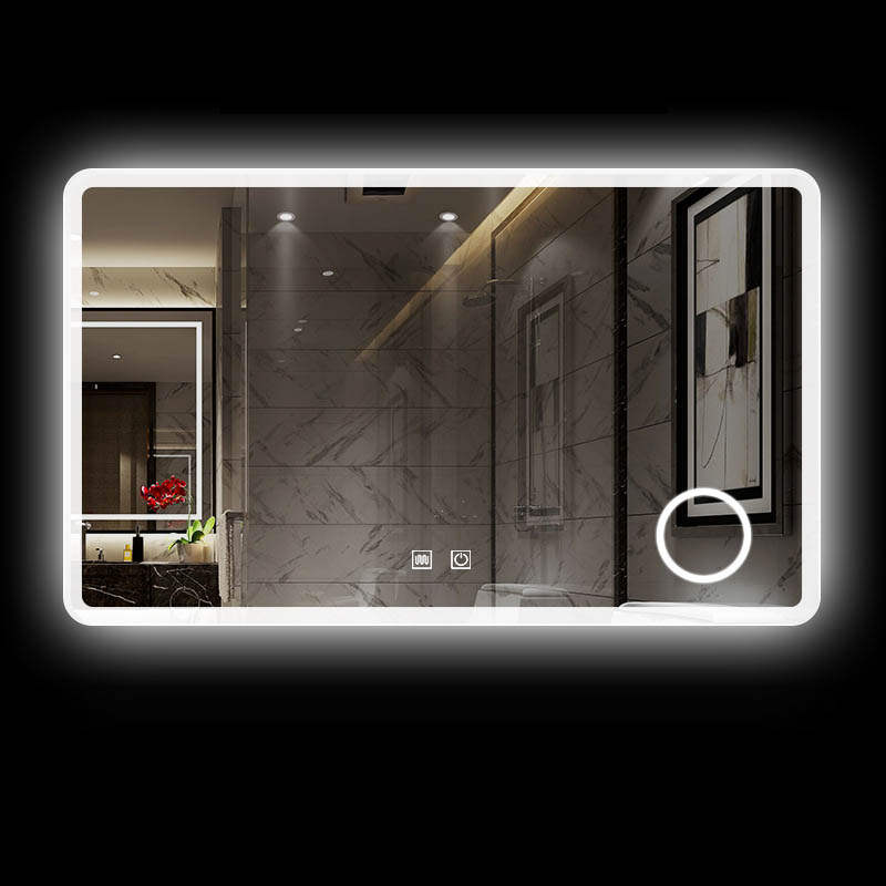 Online Shop Hot Sale Jumper Bathroom Mirror 60*80Cm Led Backlit Polished Defogger Mirror Dimmable Touch With 3X Magnifying Glass