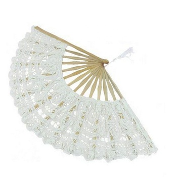 [i Am Your Fans]handmade 100% 21cm 27cm length Luxury wedding favor Hand Lace Cotton Fan