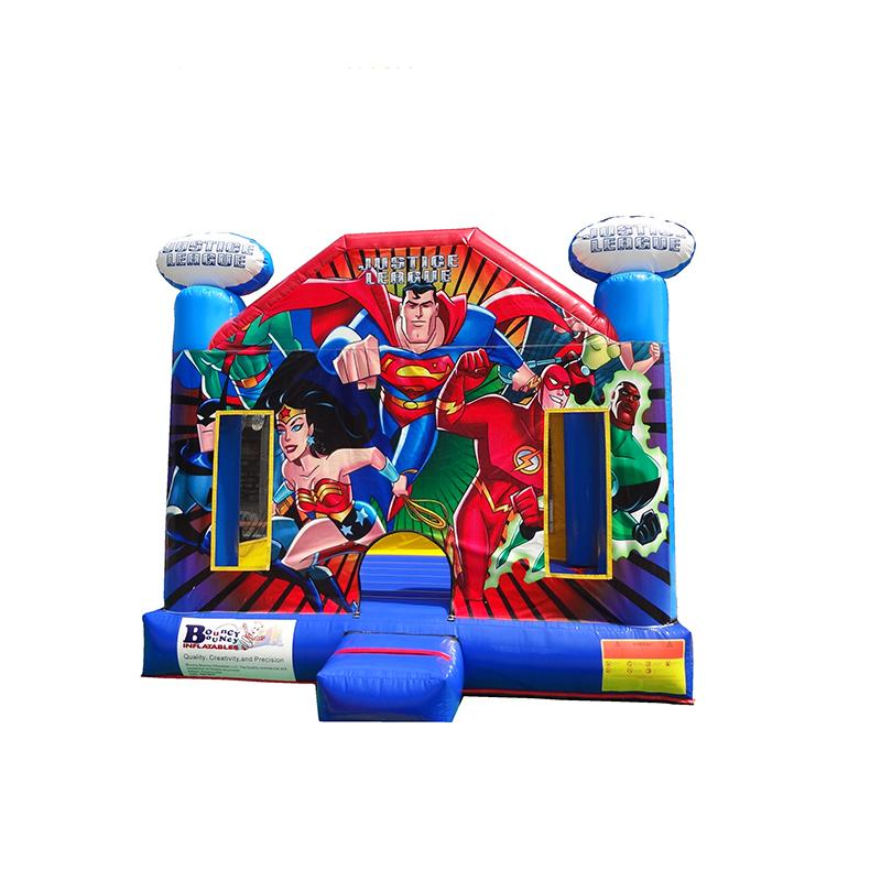 0.55mm PVC America superhero adult jumping castle superman bounce house