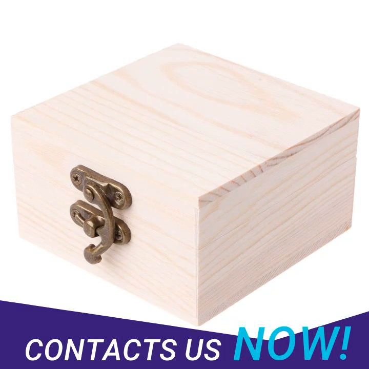 Custom Logo Small Storage Gift Packaging Bamboo Wooden Box With Lid