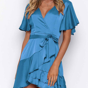 Women Clothes Short Sleeve Summer Women's Cardigan With Irregular Dresses Sexy Fashion Ruffled Sexy Dresses