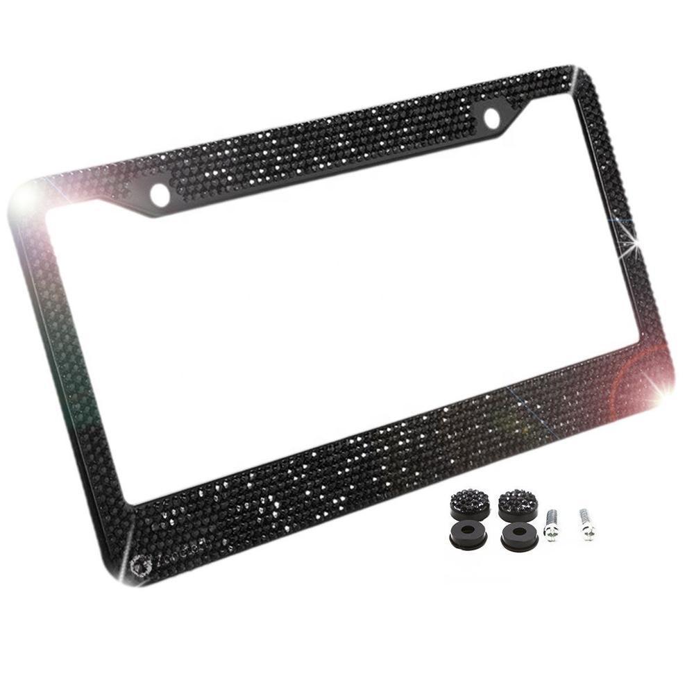 RTS Brilian License Plate Frame dengan 7 Baris Dekorasi Acrylic Batu/Rhine Batu Bling Plat Bingkai Stainless Steel