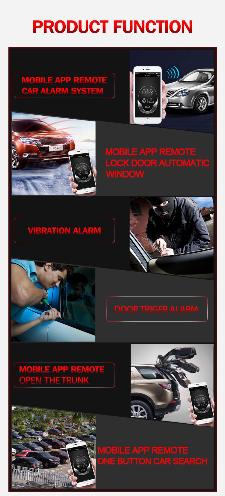 Hot Bán Dễ Dàng Để SỬ DỤNG Điện Thoại Di Động bluetooth từ xa hệ thống báo động xe và Chống keyless nhập alarme làm carro trong Nam thị trường mỹ