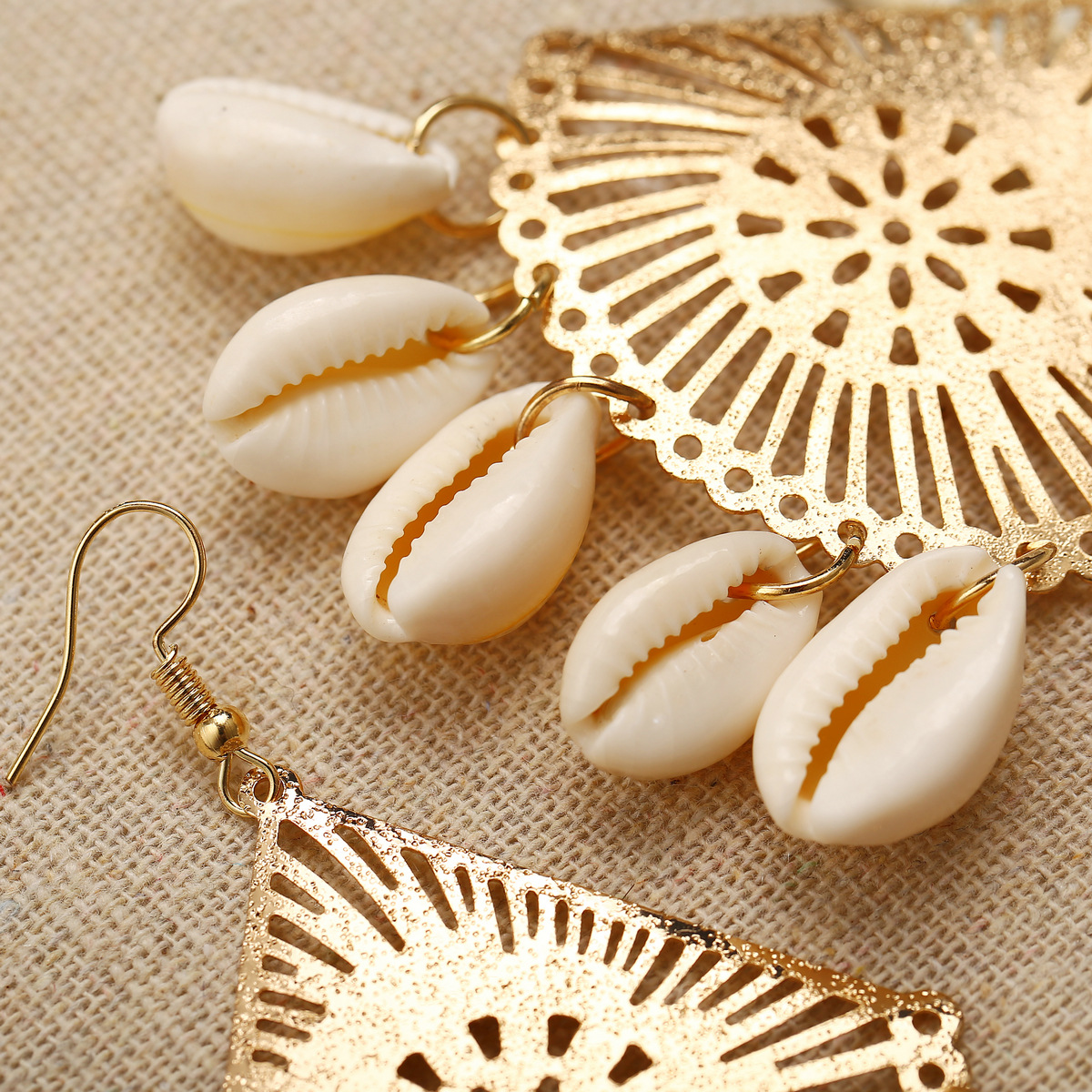 Women Hotsale Handmade Ocean Style Rattan Weave Sea Shell Earrings Boho Fan Shape Rattern Drop Earrings