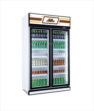 Large capacity 2 doors daily use vertical display refrigerator commercial/home appliances
