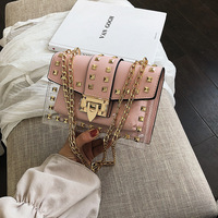 2020 ladies shoulder clear chain hand bag transparent shoulder handbag women's mini crossbody women rivet pvc handbags jelly bag