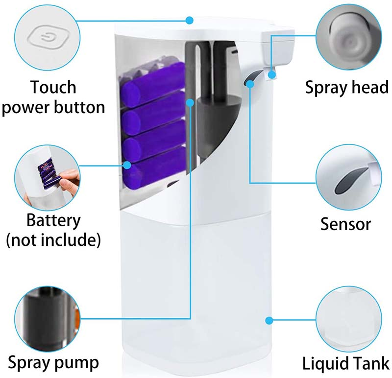 Blitzblue automatic sensor alcohol standing touchless automated hand sanitizer dispenser soap spray dispenser floor stand