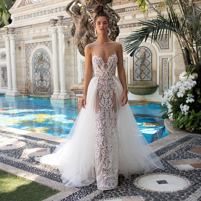 Sleeveless Mermaid Wedding Dress Bridal Gown Detachable Train Backless Lace Long