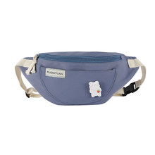 Модная Повседневная нагрудная сумка женская холщовая простая поясная сумка брошь декор дамская сумка на молнии через плечо поясная сумка(Китай)