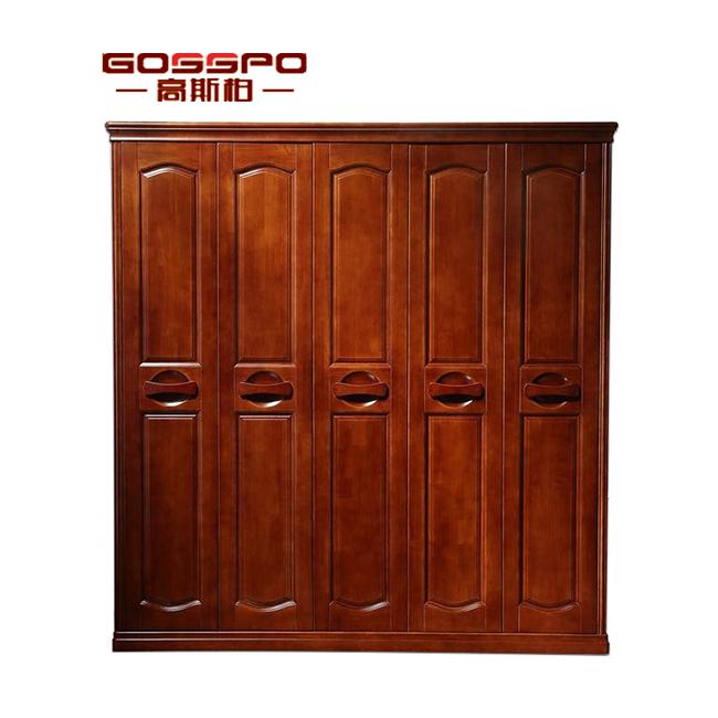 GSP9-023 Solid Teak Wood Wardrobe Modern Designed 5-Door Wardrobe
