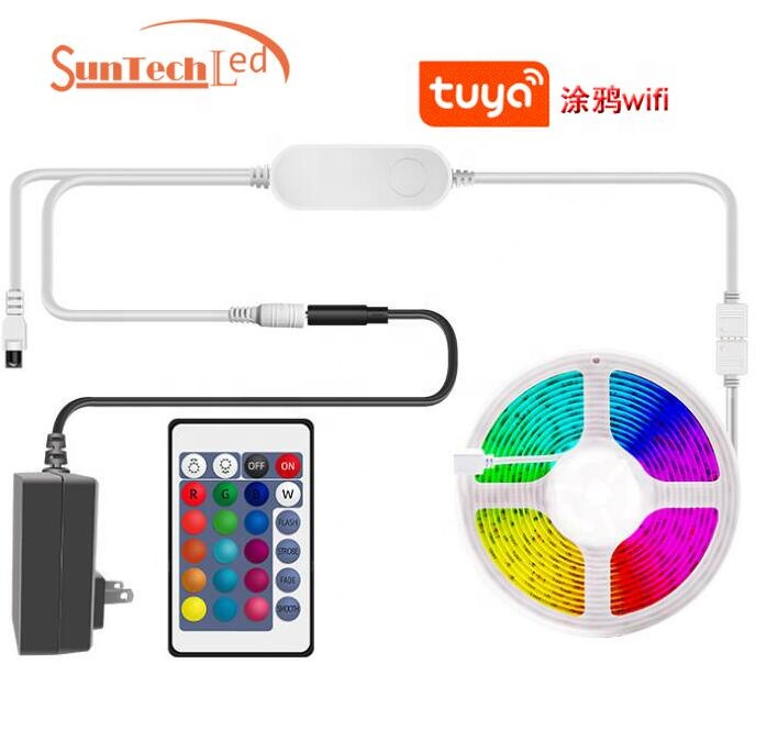 Club Bar Home Hotel Decoration   remote controller Voice Control 5m 300LEDs IP65  Tuya rgb SMD 5050 smart wifi led strip kit