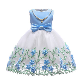 top quality bowknot baby cotton frocks designs elegant lace flower party girls dresses