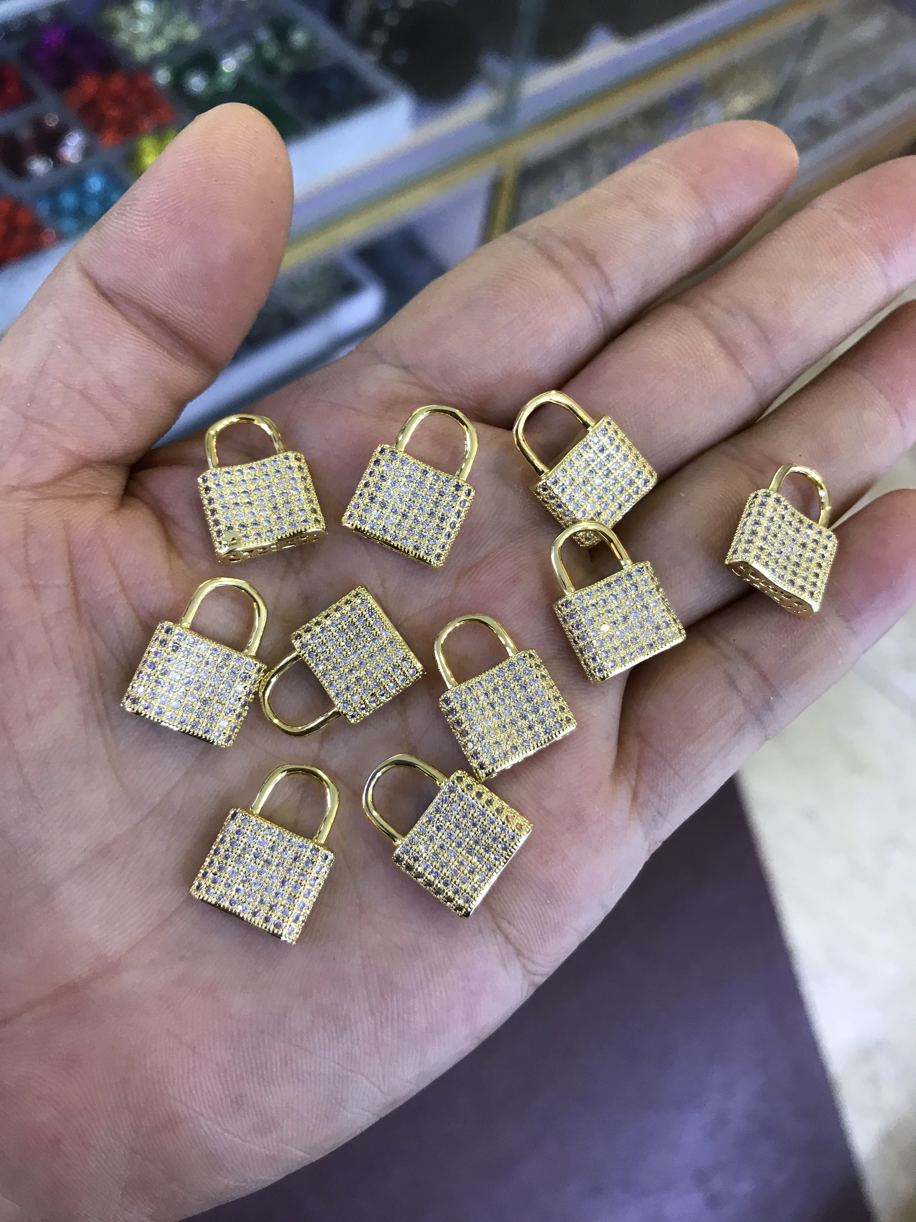 Hot Sale Lock Pendant brass DIY Findings Charms pendant Crafts Jewelry Making Design Accessories For Necklace Bracelet
