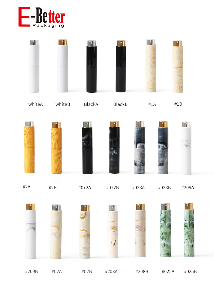 2020 new product travel perfume atomizer 10ml twist up spray bottles matte white with shining logo