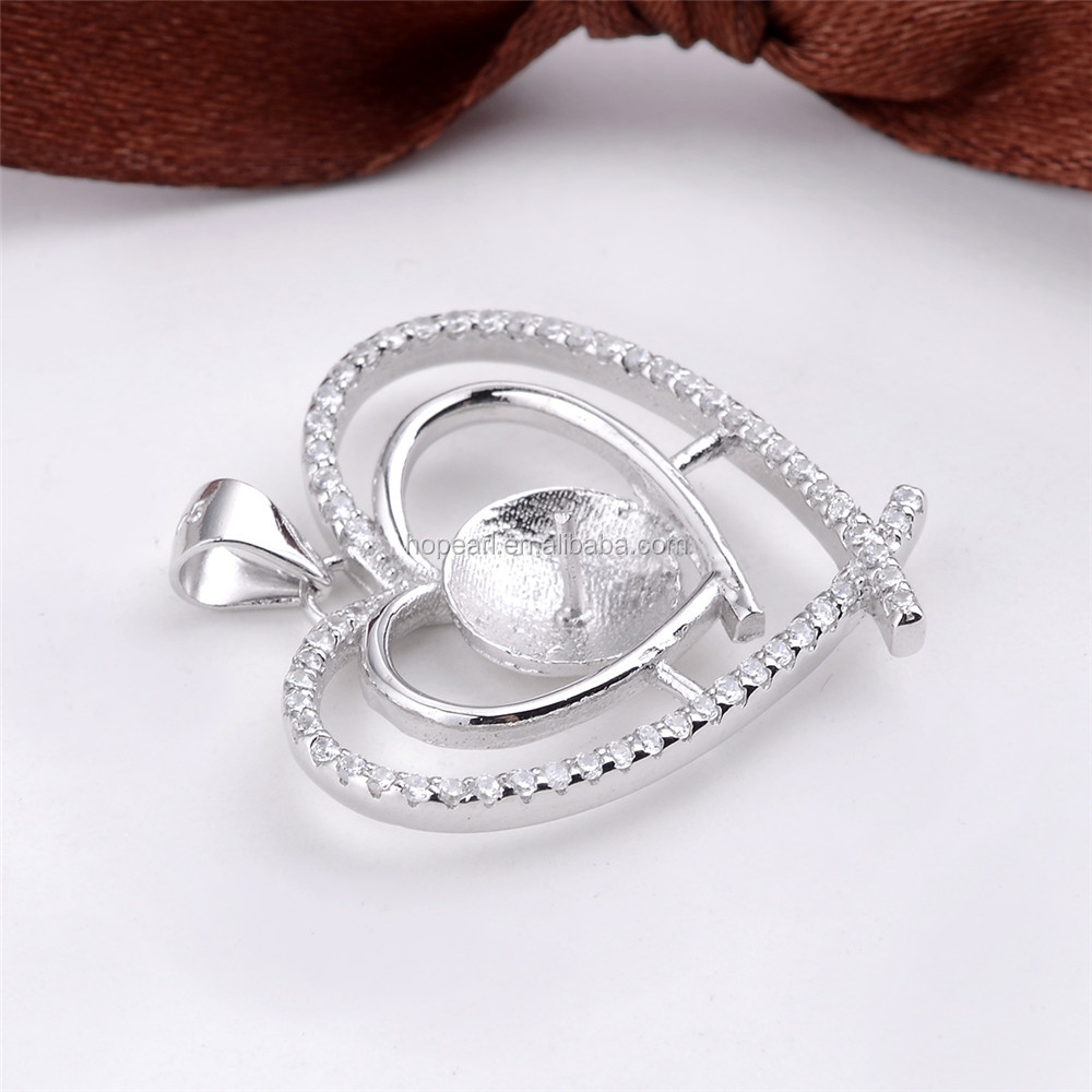 SSP248 DIY Gift 925 Sterling Silver Double Heart Pendant Cubic Zirconia Surrounded for Big Pearl Findings