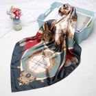 Chinese Custom Logo Digital Print Women Square 100% Silk Satin Scarf