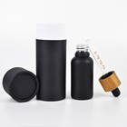 1oz 30ml round frosted black amber glass oil dropper bottles with bamboo lid