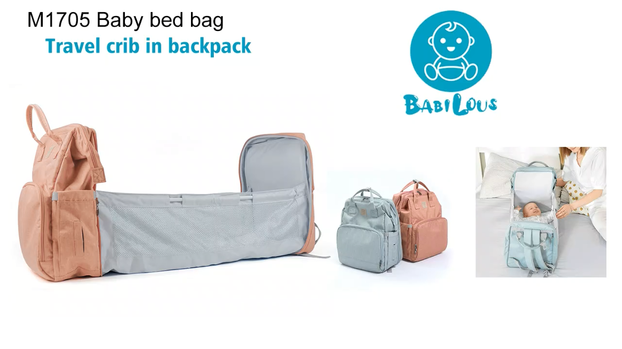Popular foldable bassinet shopping backpack diaper changing travel cot portable baby bed bag