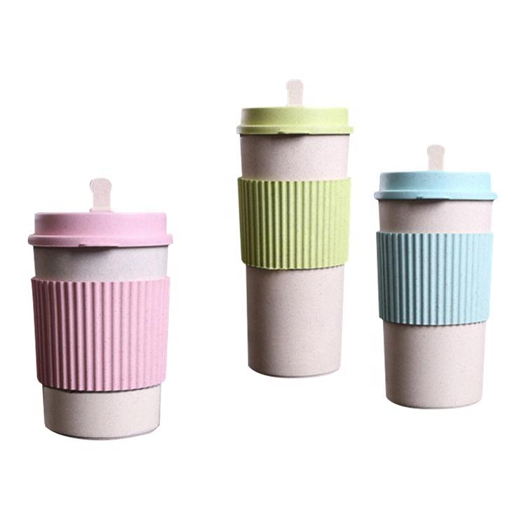 AFTCE079A Wheat Straw Juice Bottle Rice Husk Coffee Plastic Travel Folding Cup 500ml
