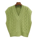 2020 Winter new style fashion sweater 100% wool knitted vest sleeveless v neck for women