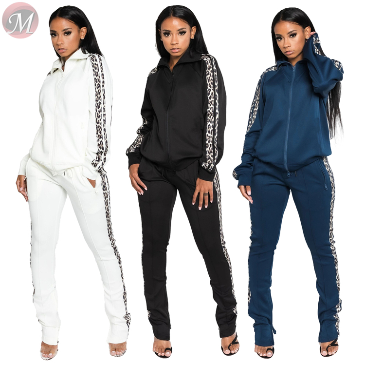 9101628 new stylish leopard side stripe jogger suits Outfits 2019 Two Piece Pant Set Women