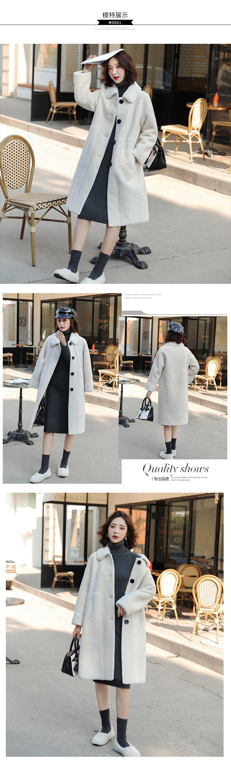 Women's long wool blouse Wool coat