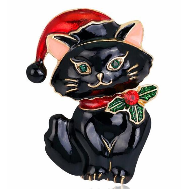 de Largo en Caja De Regalo Hermoso Broche De Moda Con Gato Negro 11.3 Gr 5.2 cm