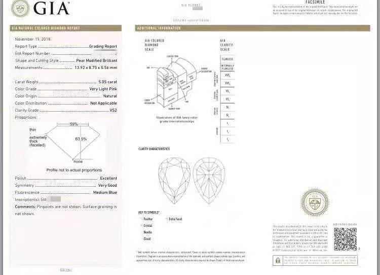 Bijoux GIA en vrac de diamant de haute qualité, précieuses, personnalisé, SI2, rose très clair, naturel, 5,05 carats