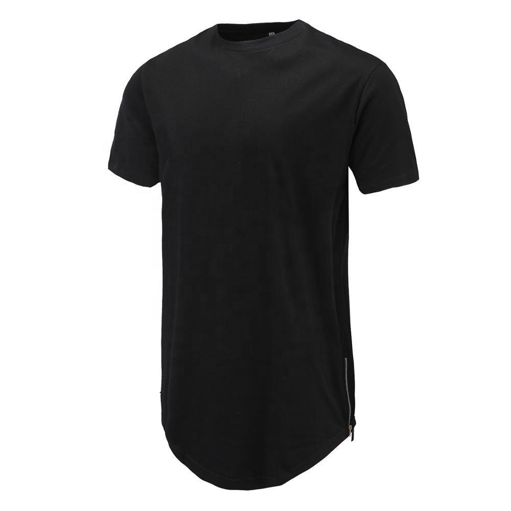 फ्रांस फ्रेंच कस्टम कपास लंबी लाइन हिप हॉप घुमावदार हेम विस्तारित टी शर्ट